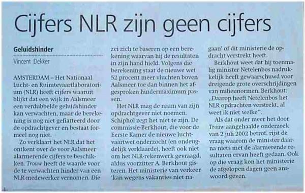 Cijfers NLR zijn geen cijfers'