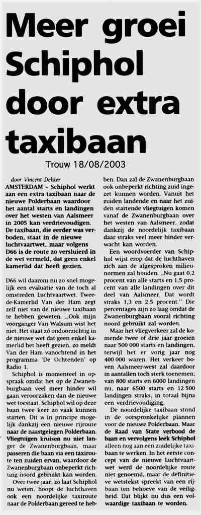 Meer groei Schiphol door extra taxibaan