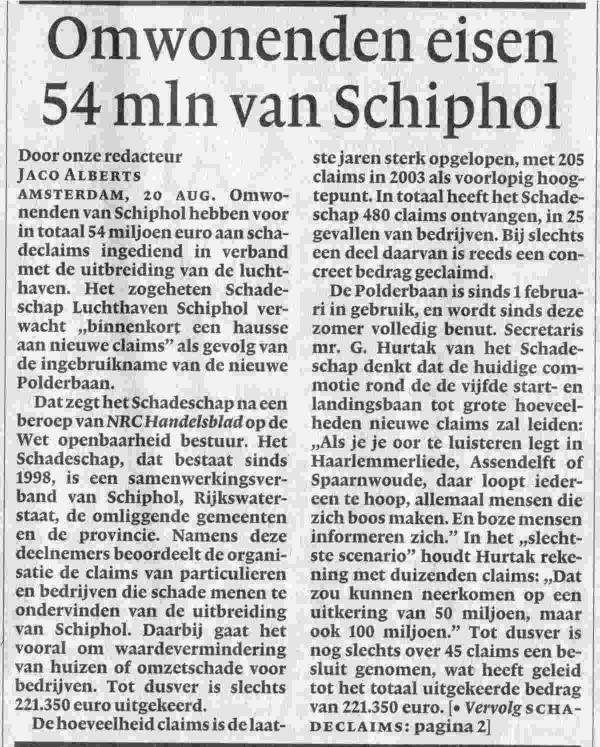 Omwonenden eisen 54 mln van Schiphol