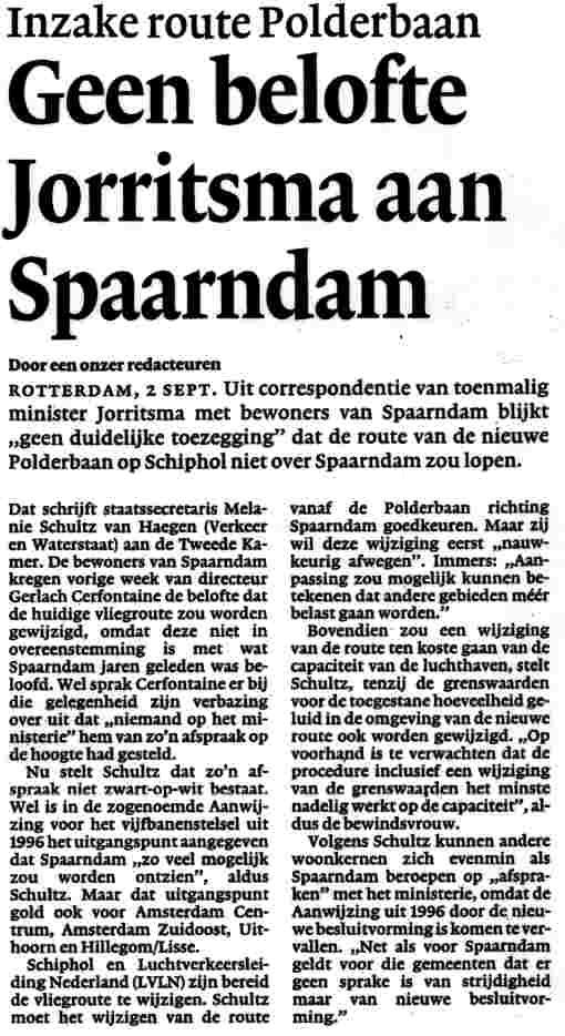 Geen belofte Jorritsma aan Spaarndam