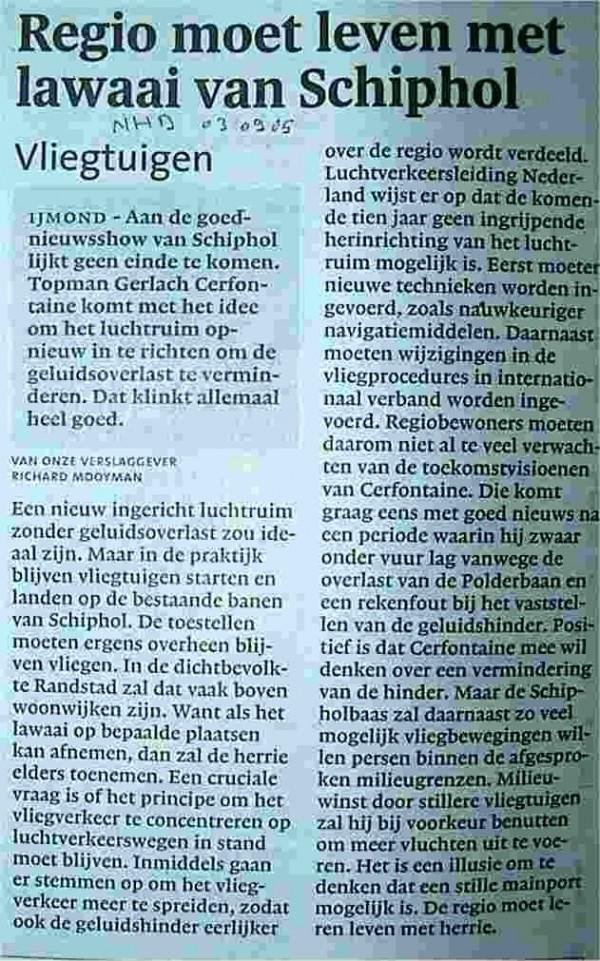 'Regio moet leven met lawaai van Schiphol'