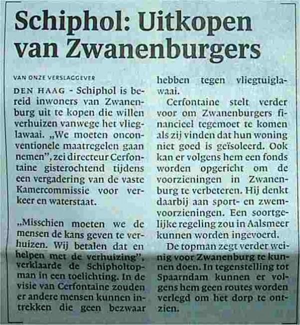 Schiphol: 'Uitkopen van Zwanenburgers'