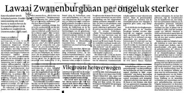 Lawaai Zwanenburgbaan per ongeluk sterker