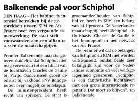 Balkenende pal voor Schiphol