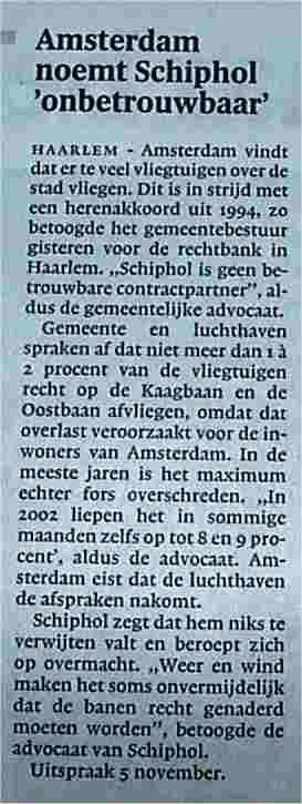 Amsterdam noemt Schiphol onbetrouwbaar