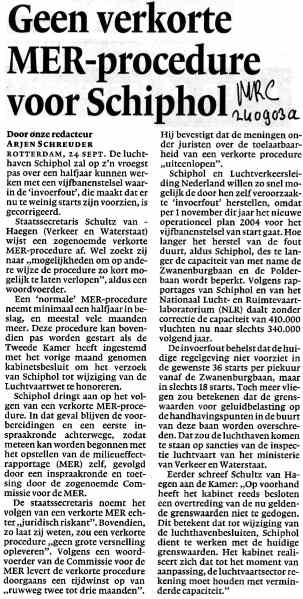 Geen verkorte MER-procedure voor Schiphol