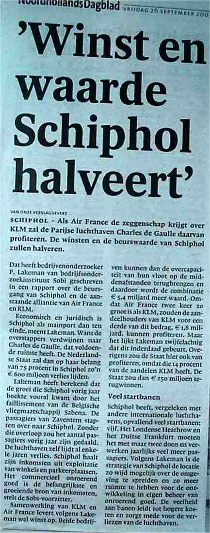 'Winst en waarde Schiphol halveert'