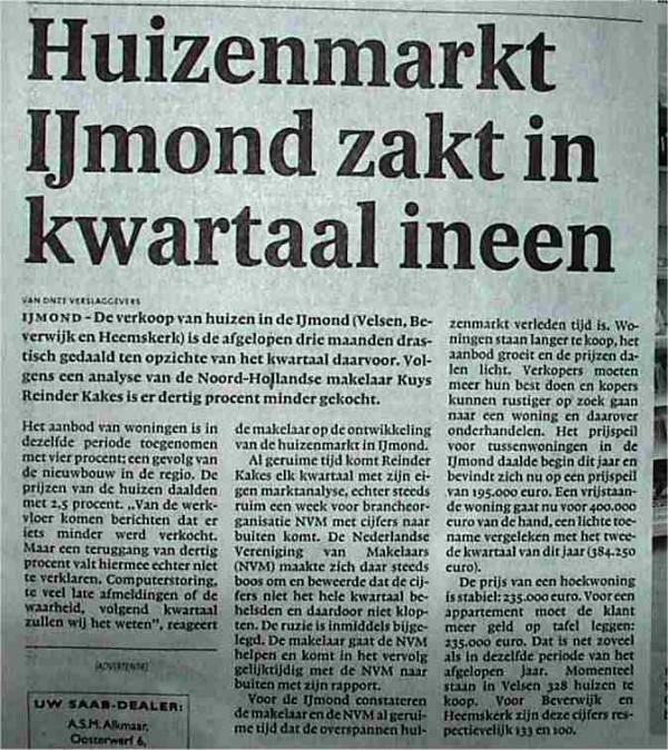 Huizenmarkt IJmond zakt in kwartaal ineen