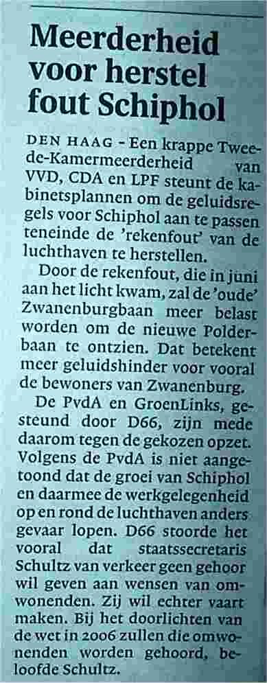 Meerderheid voor herstel fout Schiphol