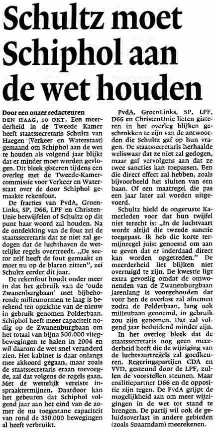 'Schultz moet Schiphol aan de wet houden'