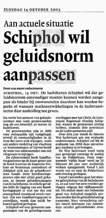 Schiphol wil geluidsnorm aanpassen