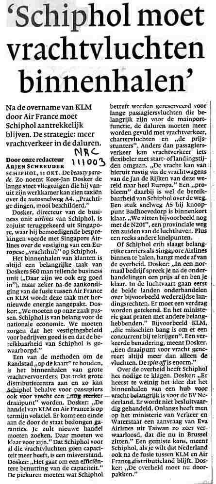 'Schiphol moet vrachtvluchten binnenhalen'