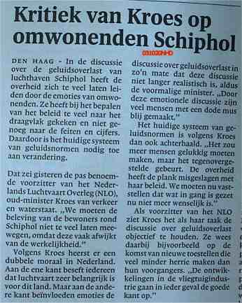 Kritiek van Kroes op omwonenden Schiphol
