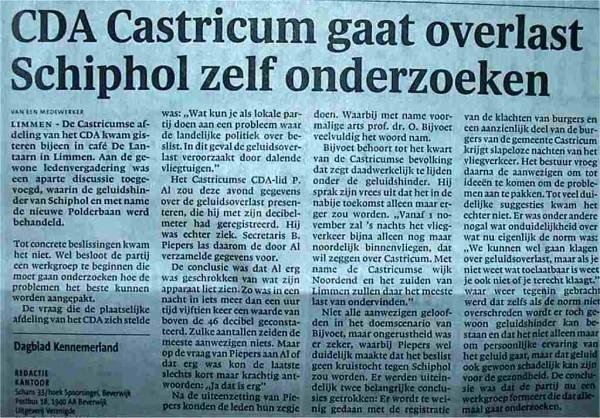 CDA Castricum gaat overlast Schiphol zelf onderzoeken