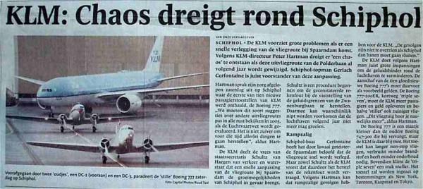 KLM: 'Chaos dreigt rond Schiphol'
