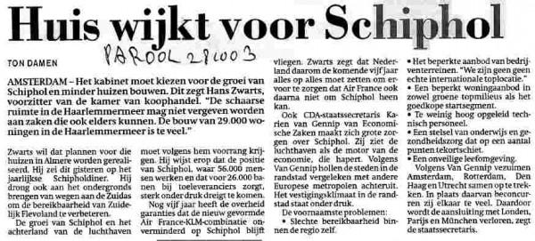 Huis wijkt voor Schiphol