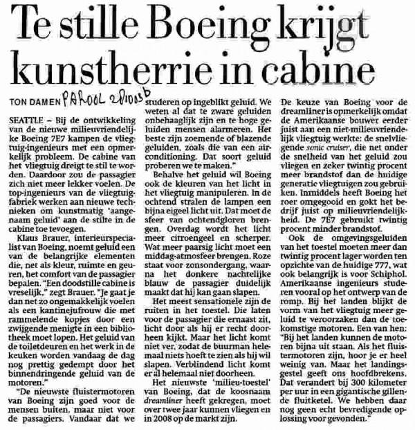 Te stille Boeing krijgt kunstherrie in cabine