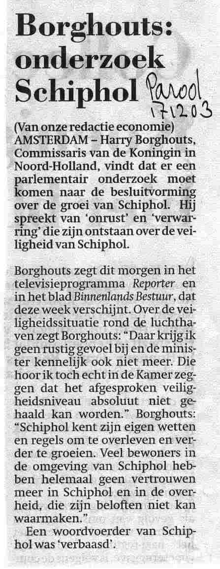 'Borghouts: Onderzoek Schiphol'