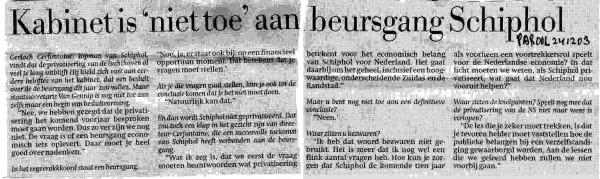 Kabinet is niet toe aan beursgang Schiphol