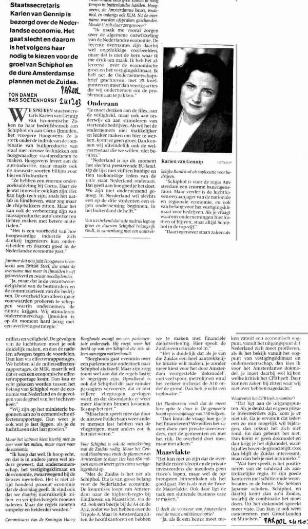 Van Gennip is bezorgd over Nederlandse economie