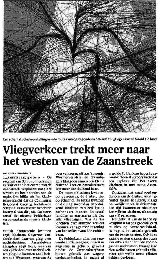 'Vliegverkeer trekt meer naar het westen van de Zaanstreek'