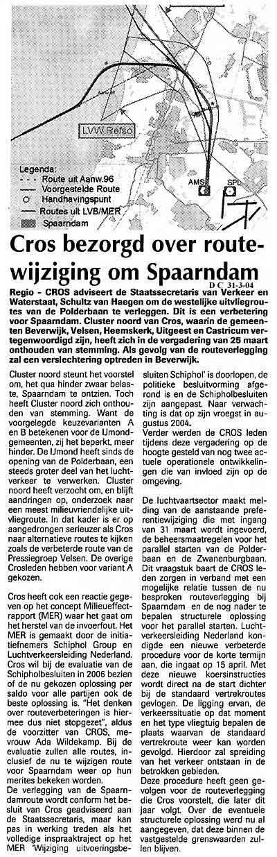 Cros bezorgd over routewijziging om Spaarndam
