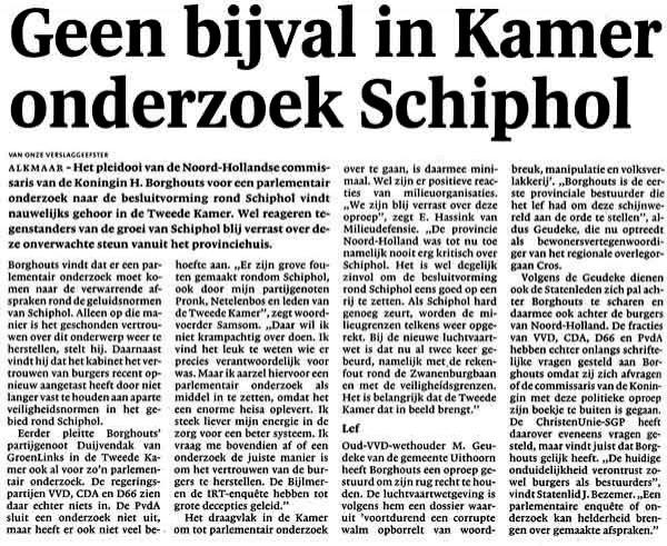 Geen bijval in Kamer onderzoek_Schiphol