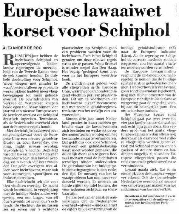 Europese lawaaiwet korset voor Schiphol