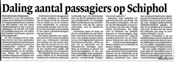 Daling passagiers Schiphol