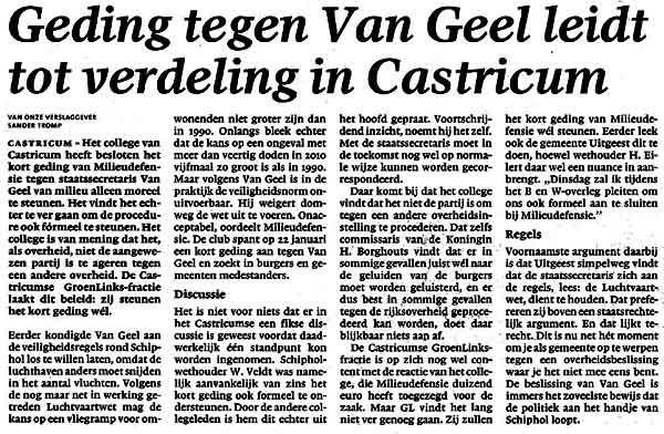 Geding tegen Van Geel leidt tot verdeling in Castricum