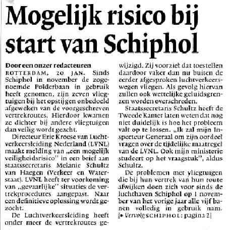 Mogelijk risico bij start van Schiphol