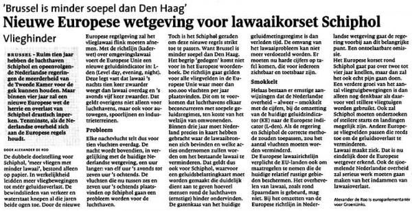 Nieuwe Europese wetgeving lawaai korset voor Schiphol