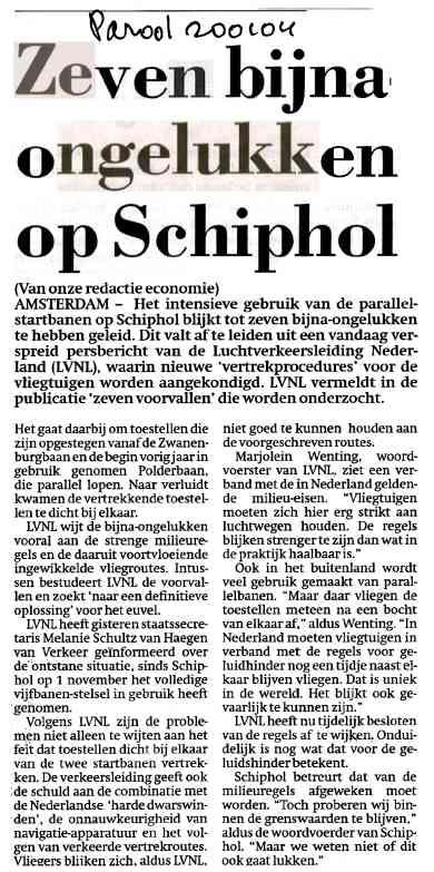 Zeven bijna-ongelukken op Schiphol