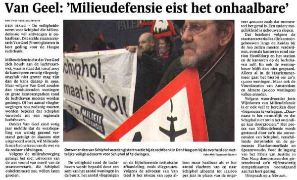Van Geel: 'Milieudefensie eist het onhaalbaare'