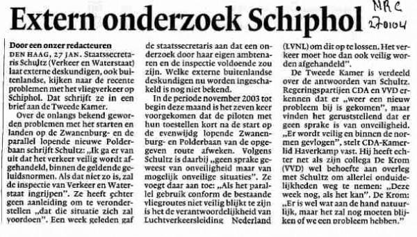 Extern onderzoek Schiphol