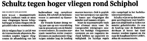 Schultz tegen hoger vliegen rond Schiphol