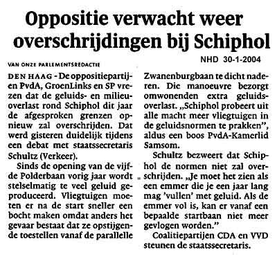 Oppositie verwacht weer overschrijding bij Schiphol