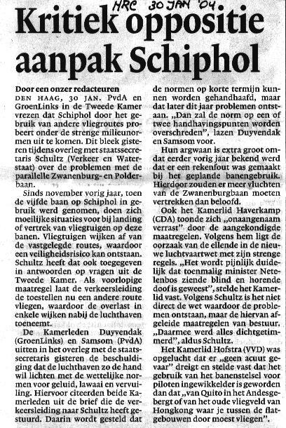 Kritiek oppositie aanpak Schiphol