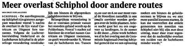 Meer overlast Schiphol door andere routes