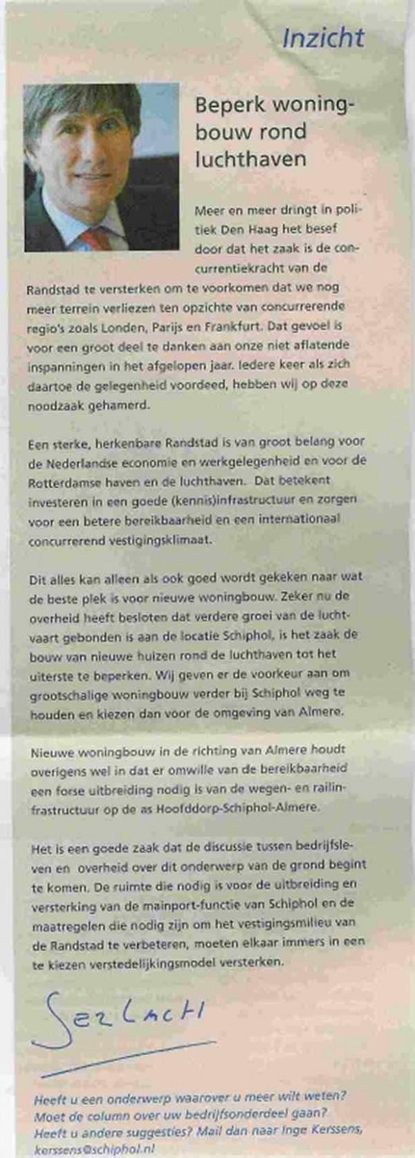 Cerfontaine adviseert over Woningbouw rond Schiphol