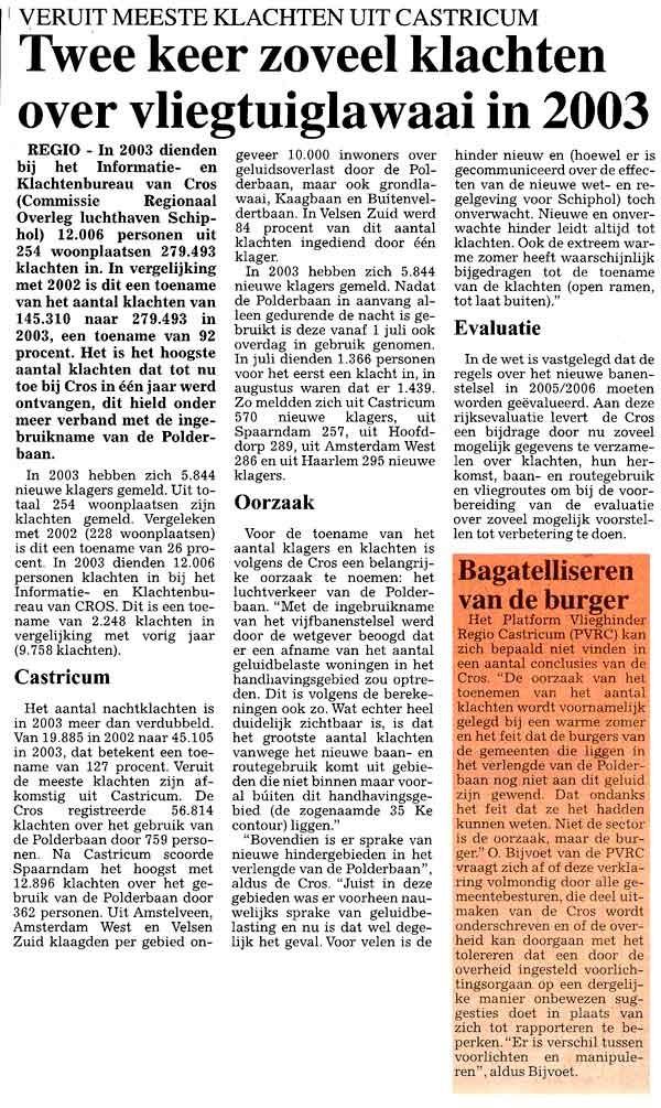 Twee keer zoveel klachten over vlieglawaai in 2003
