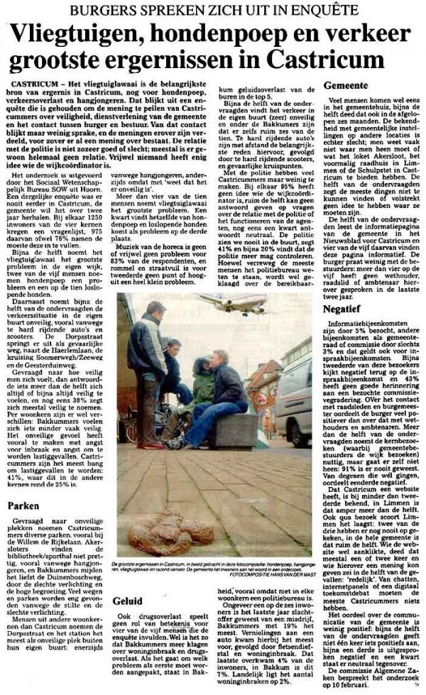 Vliegtuigen hondenpoep en verkeer grootste ergernissen in Castricum
