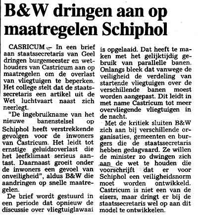 B W dringen aan op maatregelen Schiphol