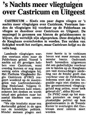 s Nachts meer vliegtuigen over Castricum en Uitgeest