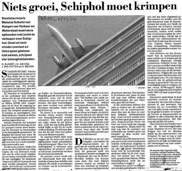 Niets groei, Schiphol moet krimpen