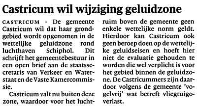Castricum wil wijziging geluidzone