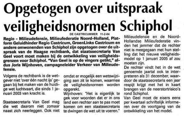 Opgetogen over uitspraak veiligheidsnormen Schiphol