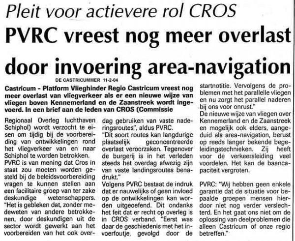 PVRC vreest nog meer overlast door invoering area navigation