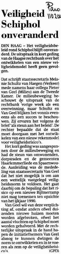 Veiligheid Schiphol onveranderd