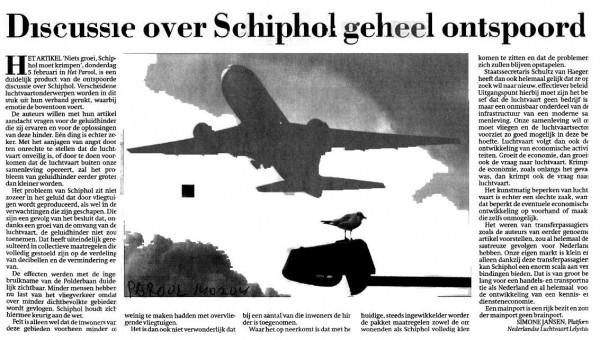 Discussie over Schiphol geheel ontspoord